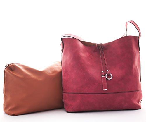 Schultertasche, Diese Damen Handtasche gibt es in den Farben beige, grün, gelb, schwarz und rot. Schwarz