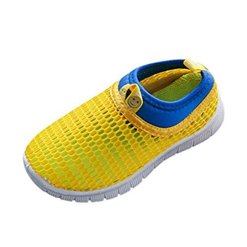 FNKDOR Mesh Schuhe für Kinder Jungen Mädchen Geschlossene Sandalen Atmungsaktiv Outdoorsandalen Sommer Strand Wasserschuhe Badeschuhe(25,Gelb)