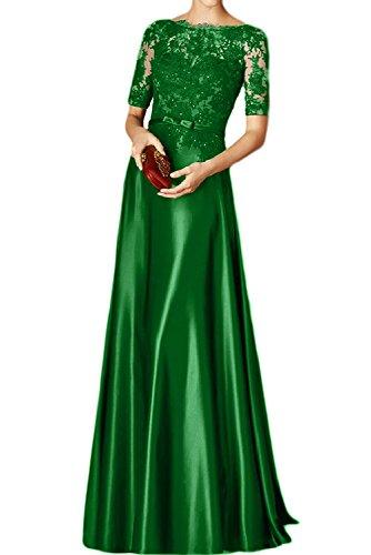 Toscana sposa nero elegante pizzo madre della sposa abito corto Arm Satin Sera Vestiti Lunghi Vestiti Da Ballo Prom abiti Verde