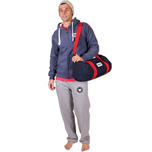 UOW Hochwertiges Bekleidungsset / Set für's Fitnessstudio - - Kapuzenweste Marineblau Mel, Graue Jogginghose, T-Shirt Rot, Top Weiß, Sporttasche Marineblau Rot & Graues Beanie 2XL