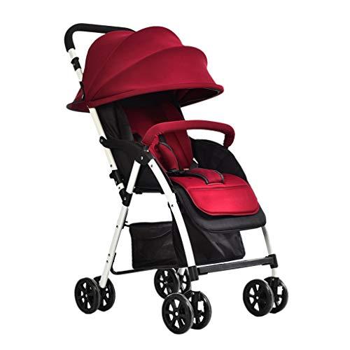 Einfache Kinderwagen können sitzen Lyche Kinderwagen Kinderwagen Ultra leichte Falten Kinderwagen Baby Regenschirm Kinderwagen Buggys (Color : Red, Größe : 22.04 * 13.77 * 38.97inchs)
