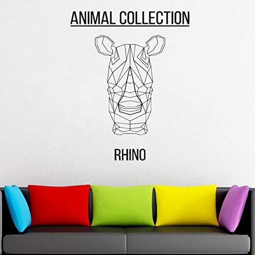 mzdzhp Wandaufkleber Geometrische Rhino Head Vinyl Aufkleber Tiere Anime Wall Decal Scandi Minimalistic Monochromatic Diy Murals 57X79cm
