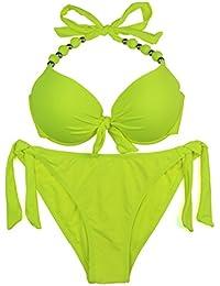 52562ec9903 EONAR Womens Halter Swimwear Removable Push up Pad Bikini Set