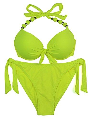 EONAR Damen Seitlich Gebunden Bikini-Sets Abnehmbar Bademode Push-up-Bikinioberteil mit Nackenträger, Gelb, (Größe:38)70C/75C/80B