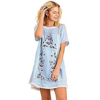JUTOO Women's Bohemian Embroidered Short Sleeve Dress or Tunic(Blue,Medium)