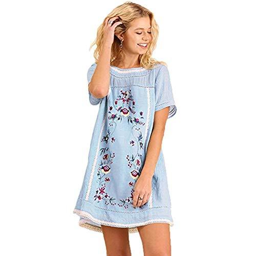 Binggong Kleid Damen Kleider Sommer Bohemian Elegant Leinenkleider mit Stickerei Floral,Frauen Tunika Shirt Lose Sommerkleid S-3XL (L, Blau) (Super Kleid Schickes)