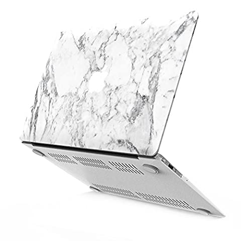 iBenzer - Soft-Skin Smooth Finish Plastic Hard Case Cover for Macbook Air 13.3'' (A1466/A1369) NO CD ROM, White Marble