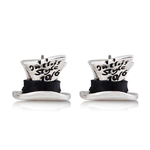 Disney Couture - Pendientes de plata de Alicia en el país de las maravillas, diseño del Sombrerero Loco