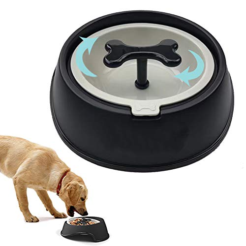 SXJXB Langsame Fütterung Hundenapf, Reisenäpfe Hundenapf Katzennapf, Rutschfest, langlebige ungiftige,Black