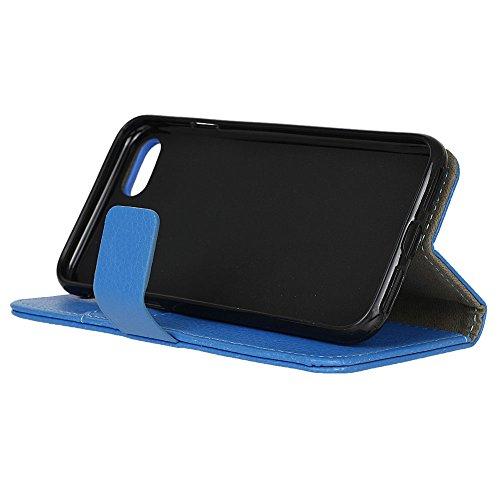 Voguecase® für Apple iPhone 7 4.7 hülle,(Gelb Leopard) Kunstleder Tasche PU Schutzhülle Tasche Leder Brieftasche Hülle Case Cover + Gratis Universal Eingabestift Litschi Linien/Blau