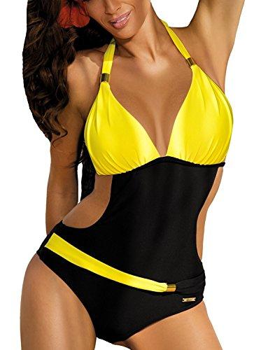 Sexy Maillot de bain Femme 1 Piece Bikini Imprimee Push Up Soutien-gorge Trikini Dos Nu (jaune, L)