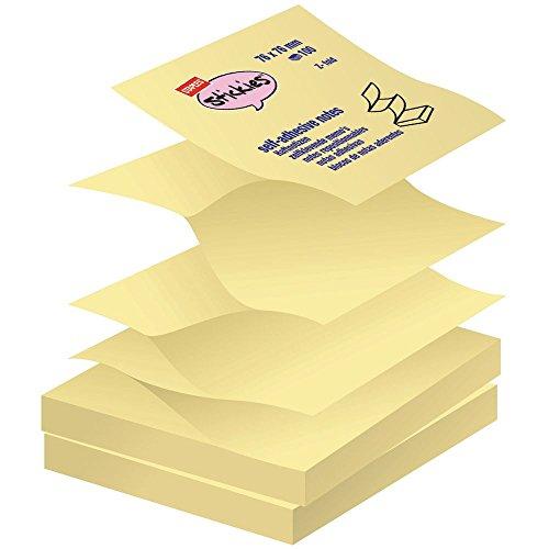 Staples Haftnotizen StickiesTM Sticky Z-Notes Quadratisch Block gelb 76x76mm 12 Blöcke x 100 Blatt
