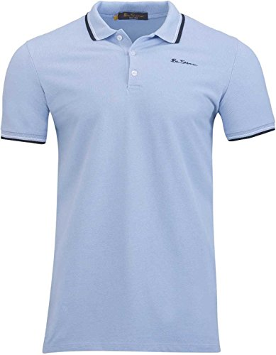 Ben Sherman Herren Shirt Poloshirt Script Polo, Farbe: Hellblau, Größe: XL