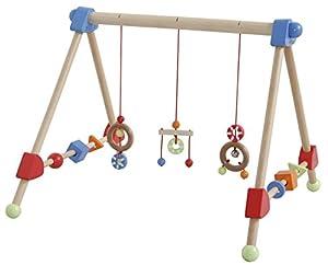 Trapecio de juegos roba, trapecio de juegos con colgantes regulables en altura, y piezas de madera moviles para bebés, multicolor, AxLxP: 48 x 61 x 59 cm.