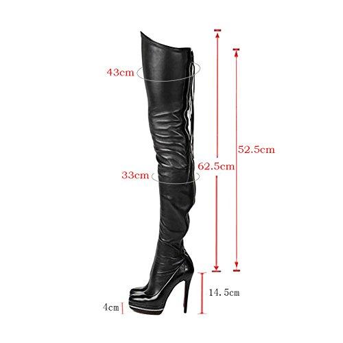 MERUMOTE Damen x-231 Falten Langschaft Plateau Stiefel Over Knee Thigh High Boots Schuhe EU Size 34-47 Rot