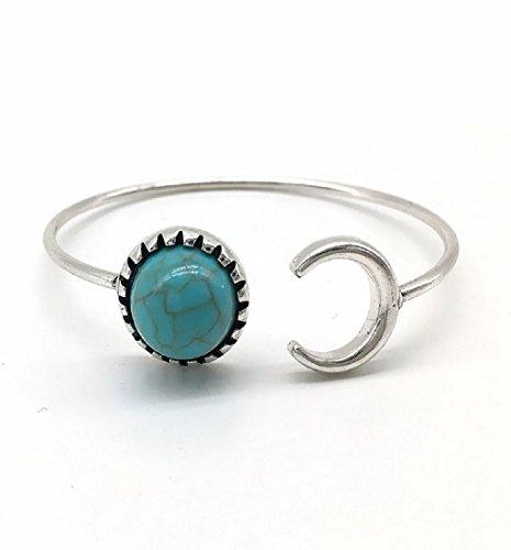 Ularma Moda Aleación de plata de Bohemia Luna forma gitana de Boho étnico color turquesa brazalete