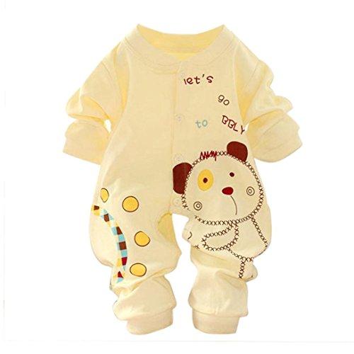 Oyedens - Tutina da neonato per bimbo o bimba, in cotone bianco Yellow 0-3 mesi