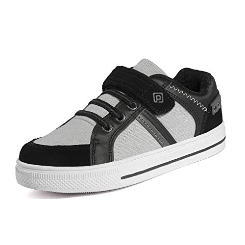 Dream Pairs 151014-K Zapatillas Sin Cordones para Niños Negro Gris 24 EU/6 US Toddler
