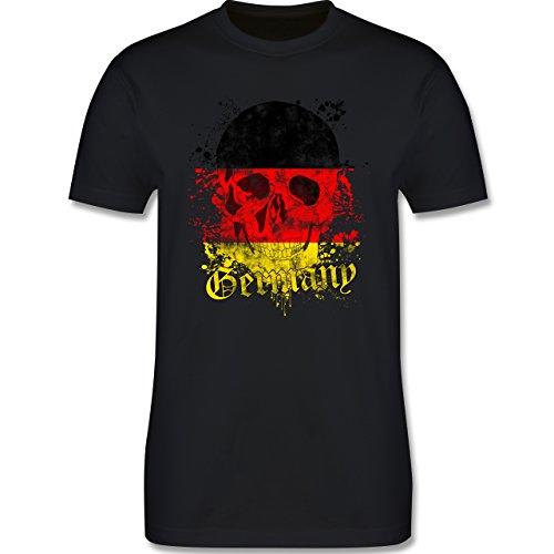 EM 2016 - Frankreich - Germany Schädel Vintage - Herren Premium T-Shirt Schwarz