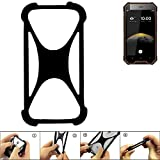K-S-Trade Handyhülle für Blackview BV4000 Schutz Hülle Silikon Bumper Cover Case Silikoncase TPU Softcase Schutzhülle Smartphone Stoßschutz, schwarz (1x)