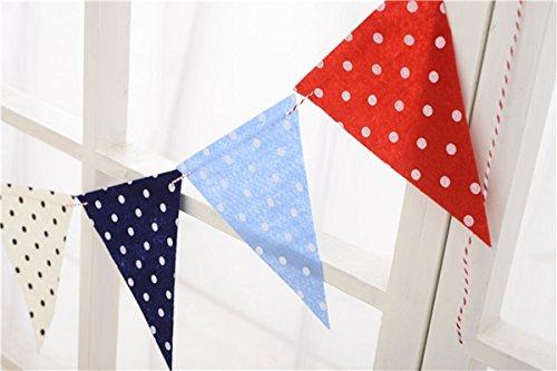 SUNBEAUTY Rot Blau Weiß Polka Punkt Wimpfel Girlande Dekoration (Punkt)