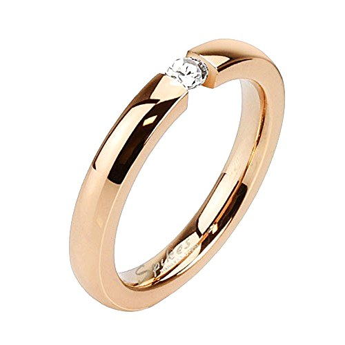 Mianova Damen Ring Verlobungsring Edelstahl mit weißem Kristall Stein in Diamant Form Damenring Trauring Rosegold Rose Gold Vergoldet Größe 56 (17.8)