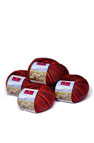 APU KUNTUR Alpaka Socken-Wolle | Strick-Häkel-Garn weich, warm und kratzfrei | 5er Vorteilspack | 200m, Nadel 2,5 | wunderschöne Farben zum angenehmen Stricken und häkeln | Kupfer-orange -