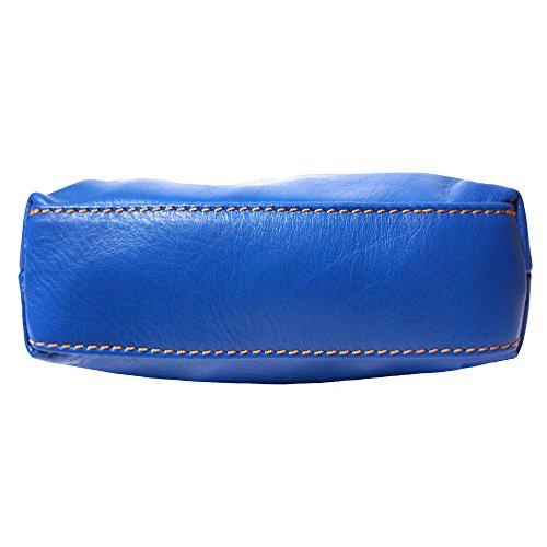 Mini weichem Leder unisex Quertasche aus Italien Signalblau/Braun