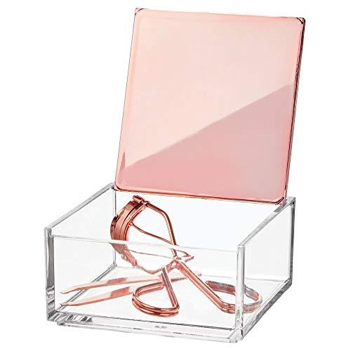mDesign kleine Kosmetikbox mit Deckel - ideale Make-up Aufbewahrung für das Bad oder den Schminktisch - praktische Schminkaufbewahrung für Lippenstift, Concealer & Co. - durchsichtig und rotgold