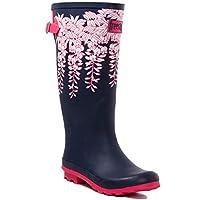 SPY LOVE BUY Wide Calf Flat Festival Wellies Rain Boots Blue Rubber Sz 6