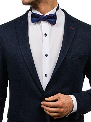 BOLF Fliege Herren Hochzeit Konfirmation Anzug Smoking Schleife LANVINO M010 Dunkelblau-Rot |