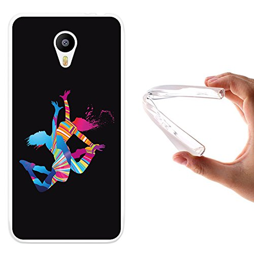 Meizu m2 note Hülle, WoowCase Handyhülle Silikon für [ Meizu m2 note ] Tanzende Jungefrauen & bunte Punkten im Hintergr& Schwarz Handytasche Handy Cover Case Schutzhülle Flexible TPU - Transparent