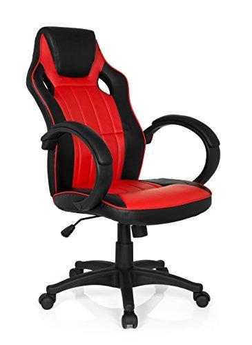MyBuero Chaise de Bureau spécial Gaming Zone Pro 100, Polycoton, Noir/Rouge, 125 x 59 x 49 cm