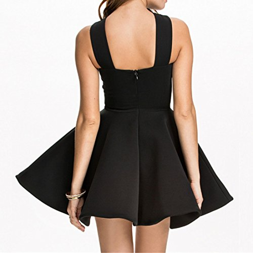 elegante Frauen Normallack halt oben sleeveless duennen Taille bouffant Midi Kleid Black
