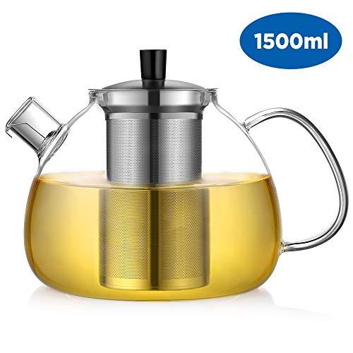 ecooe Teekanne Glas Teebereiter 1500 ml mit abnehmbare Edelstahl-Sieb Glaskanne Aufheizen auf dem Herd (Gusseisen Teekanne Set Mit 4 Tassen)