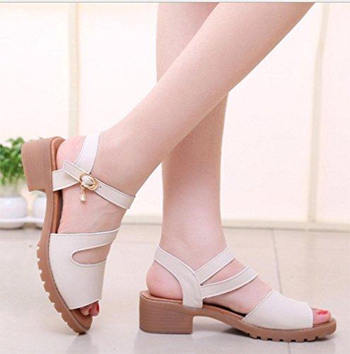 Stil Wilde Freizeitschuhe Mit Schuhe Frauen White Rutschfeste Wort Offene Sandalen Boden Schweren Meters rvrq6T