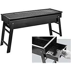 Nclon Faltbare Portable Holz-carbon Picknickgrill Holzkohlegrill,Schublade Long Bbq Barbecue Outdoor Picknick Camping Garten 3-8 Volk-schwarz 60*23cm
