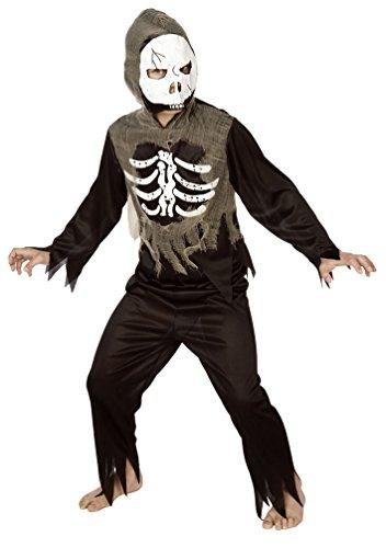 Karneval Klamotten Kinder Kostüm Skelett Jungen mit Zombie Maske Halloween Horror Komplettkostüm Größe 104/116