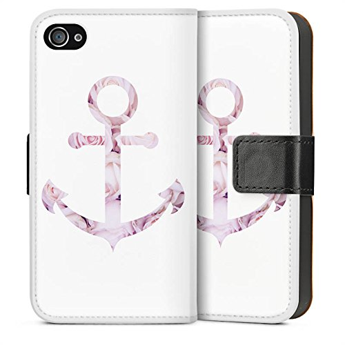 Apple iPhone 6 Plus Housse Étui Protection Coque Ancre Roses Roses Sideflip Sac