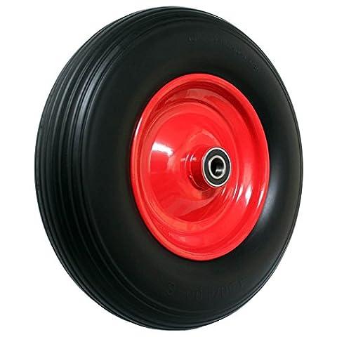 Pannensicheres Schubkarrenrad, Vollgummi-Reifen mit Präzisions-Kugellager, Universal Schubkarren-Reifen PU auf Stahlfelge mit 150 kg