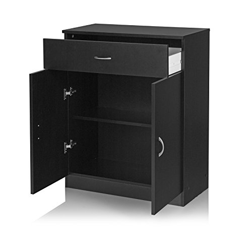Home Source Cupboard Storage Unit Black 2 Door 1 Drawer Office Cabinet or Sideboard Selby