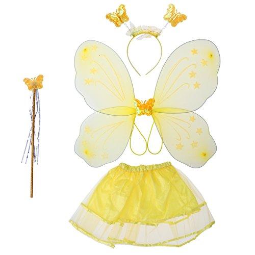 luoem Kostüm Fee Mädchen Kostüm Schmetterling Kinder Flügel-Fee Zauberstab Gewächshaus Kopf und Rock Tutu gelb 4-teilig -