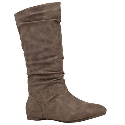 Damen Schlupfstiefel Warm Gefütterte Stiefel Leder-Optik Schuhe 152421 Khaki Basic 39 Flandell