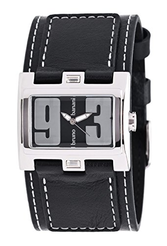 Bruno Banani br25921–Women's Wrist Watch, Black Leather Strap