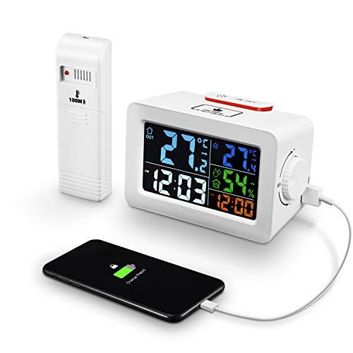 CENXINY Digitaler Wecker mit Wetterstation Funk mit Außensensor Thermometer Hygrometer Innen Außen