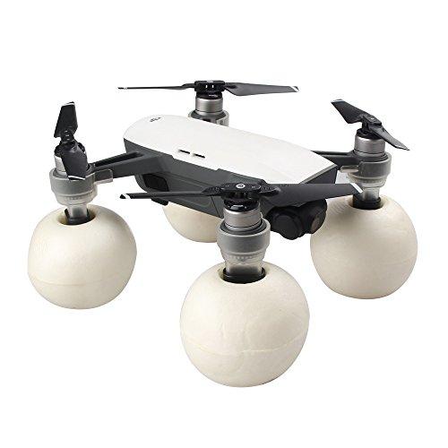 Rantow 4 Stücke Float Bälle + 4 Stücke Erweiterte Fahrwerk Beine für DJI Spark Drohne Wasserfläche Start / Landung Set (Transparent)