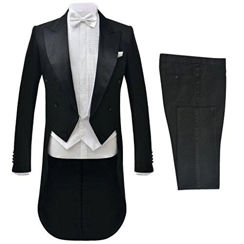 vidaXL Tenue de soirée mariage 2 pièces nœud blanc pour hommes Noir Taille 46