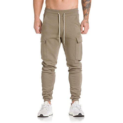 Herren Sporthosen Btruely Beiläufig Jogginghose Tanzen Sportkleidung Ausgebeult Slim Entworfen Pants Retro Männer Hosen (M, Khaki)