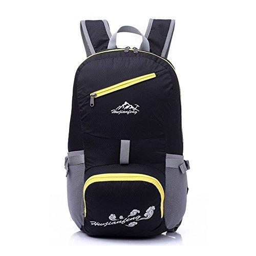 Outdoor Sports Damen Folding Bag Herren leichtes Reise Wandern Reiten Rucksäcke wasserfest tragbar Schule Tasche schwarz - schwarz