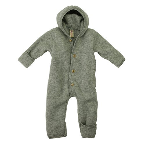 Engel-Natur Baby Overall mit Kapuze aus Bio Schurwoll-Fleece, Hellgrau Melange, Gr. 86/92